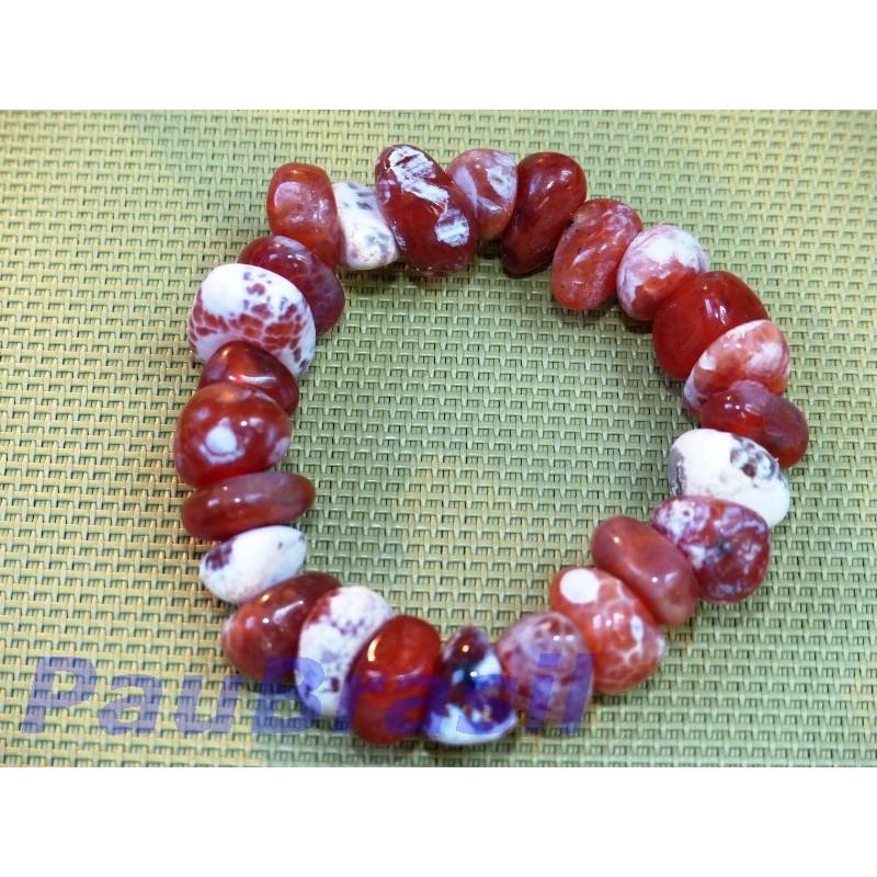 Bracelet en  pierres roulées de Cornaline crack