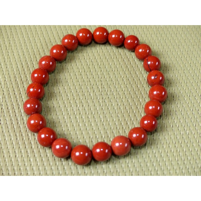 Bracelet Jaspe Rouge en perles de 8mm
