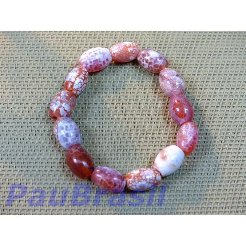 Bracelet en perles ovales de Cornaline crack