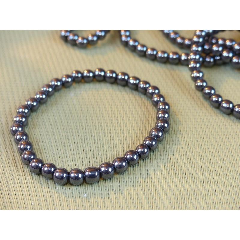 Bracelet élastique en perles d'Hématite perles de 6mm