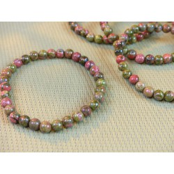 Bracelet Unakite en perles de 6 mm .