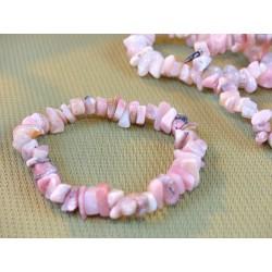 Bracelet baroque en opale rose des Andes