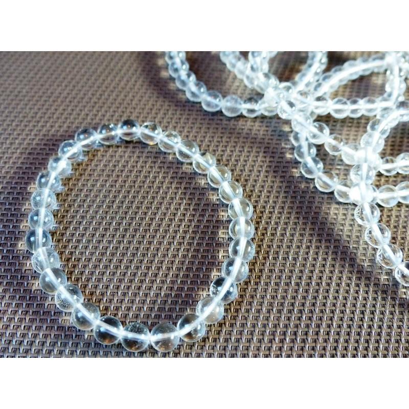 Bracelet en Cristal de Roche Q Extra en perles de 6mm