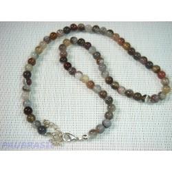 collier en  Agate Botswana en perle de 6mm, de 45cm