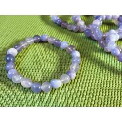Bracelet Fluorite ou fluorine Mauve de France en pierres roulées