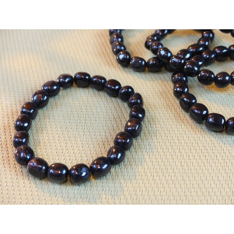 Bracelet Tourmaline Noire, schorl en pierre roulée