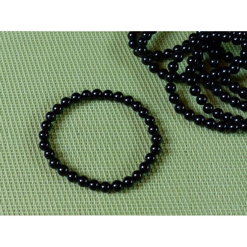 Bracelet Tourmaline Noire, schorl Q Extra en perles de 6mm