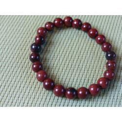 Bracelet Obsidienne Acajou Mahagony perles 8mm