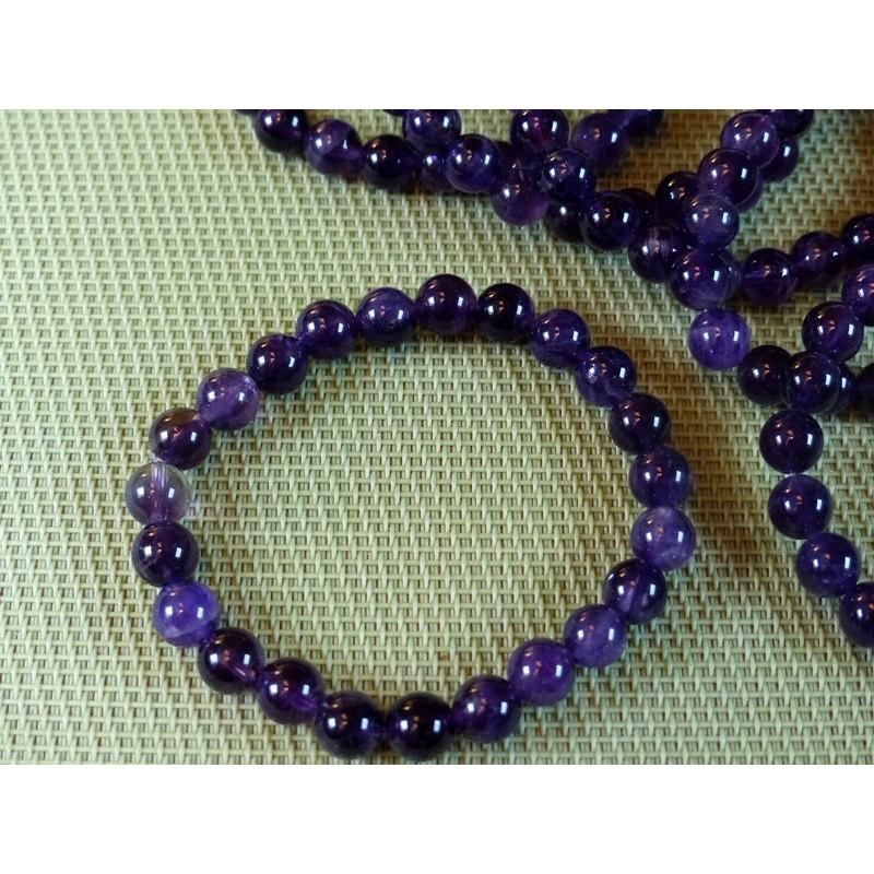 Bracelet Améthyste Q Extra perles de 8 mm