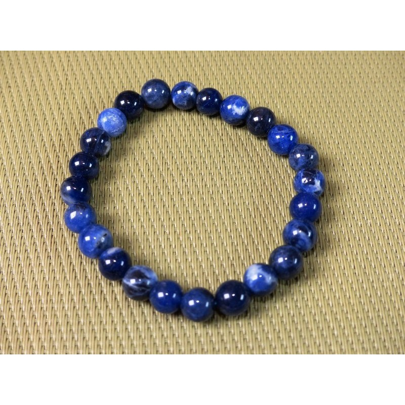 Bracelet Sodalite ou Ackmanite en perles de 8mm