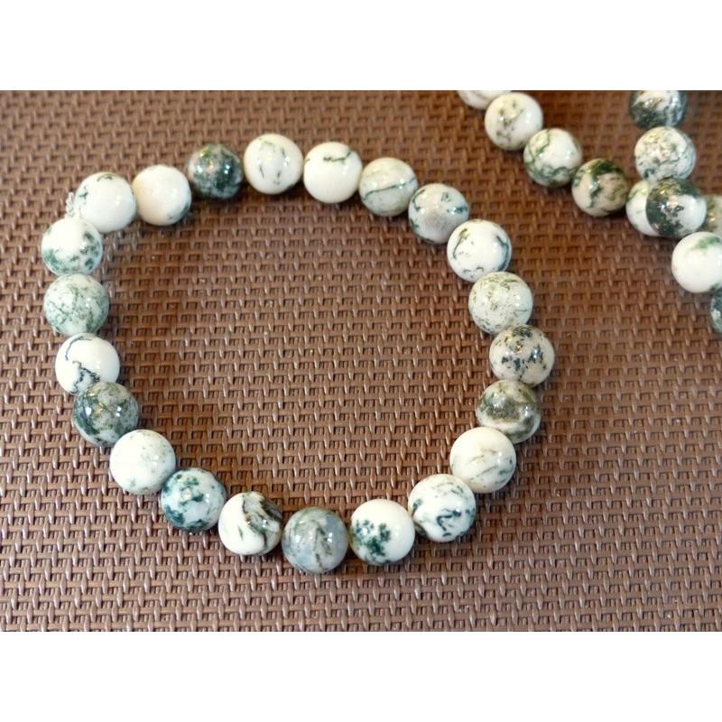 Bracelet Agate arborisée en perles de 8mm