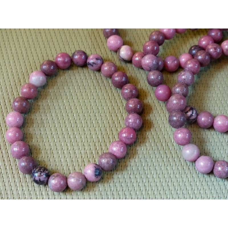 Bracelet Rhodonite perles de 8mm