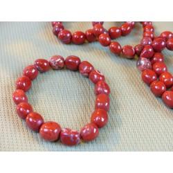 Bracelet Jaspe Rouge en pierres roulées .