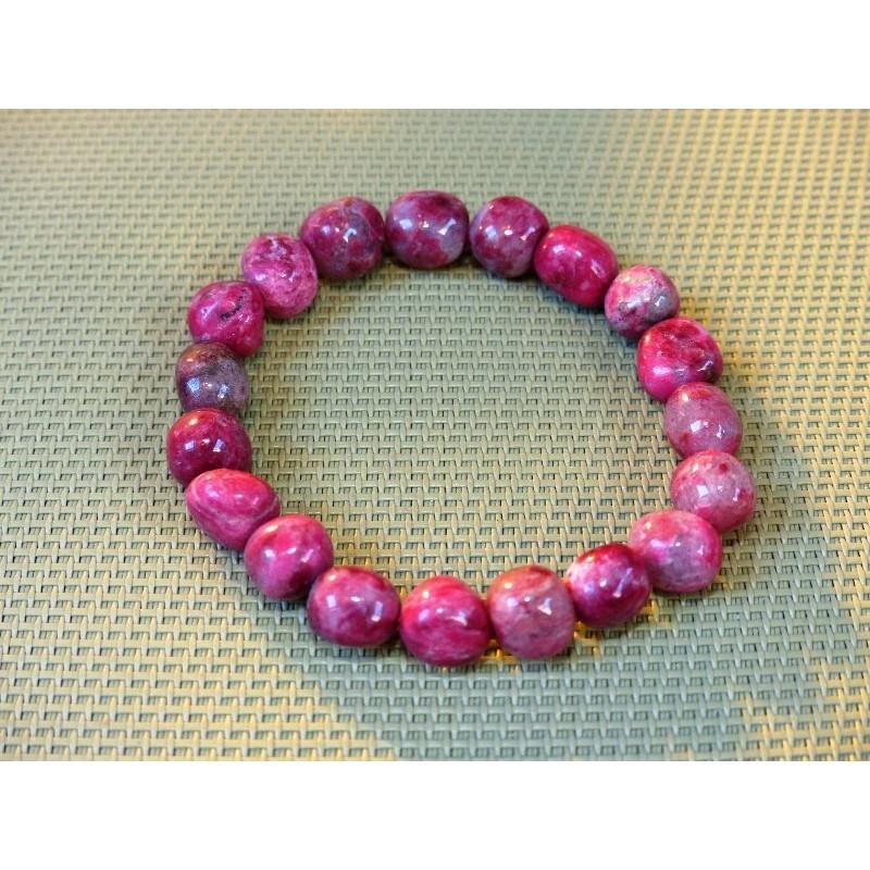 Bracelet Thulite Zoïsite Rouge pierres roulées