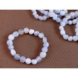 Bracelet Calcédoine Bleue en pierres roulées .
