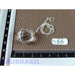 Pendule boule facette en cristal de roche 17mm diamètre