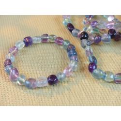 Bracelet Fluorite ou fluorine Multicolore en pierres roulées