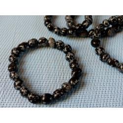 Bracelet Obsidienne Flocon de Neige en pierres roulées