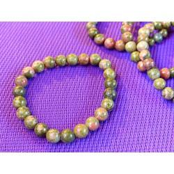 Bracelet Unakite en perles de 8 mm.