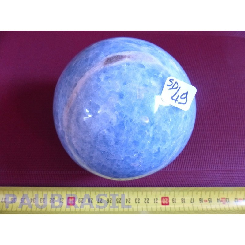 Sphère Calcite Bleue extra 2435 gr 12 cm diamètre.