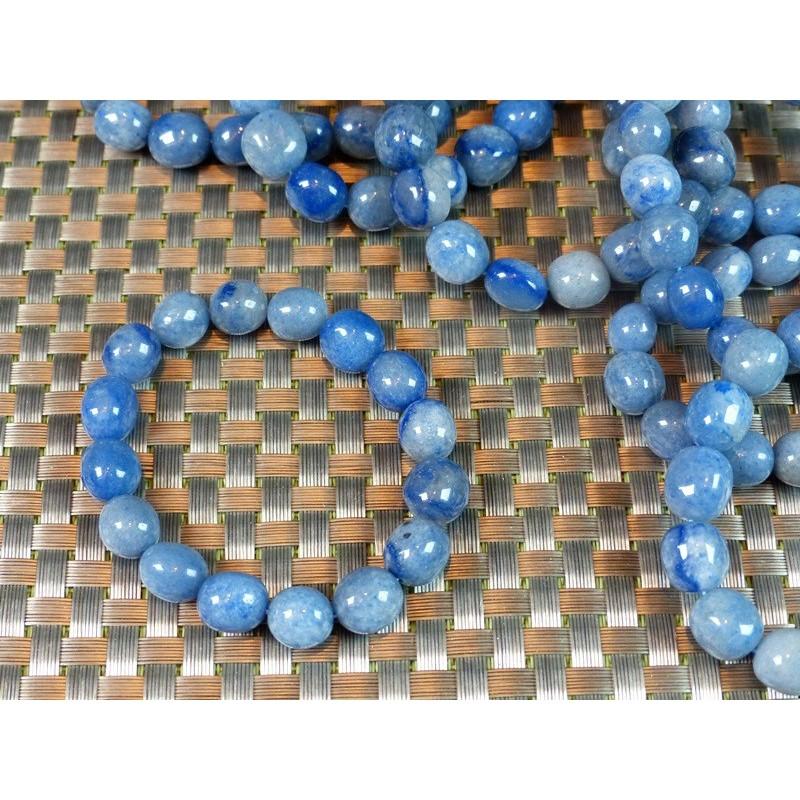 Bracelet Quartz Bleu - Aventurine Bleue en pierres roulées XL .