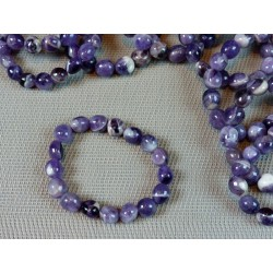 Bracelet Améthyste à chevrons en pierres roulées XL .