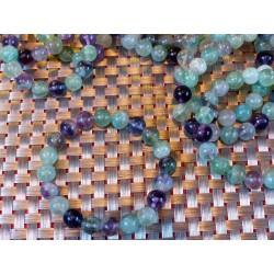 Bracelet Fluorite ou fluorine  en perles multicolores 10mm .