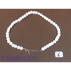 Collier Nacre 42cm en perles aplaties - disques de 10 à 12mm .