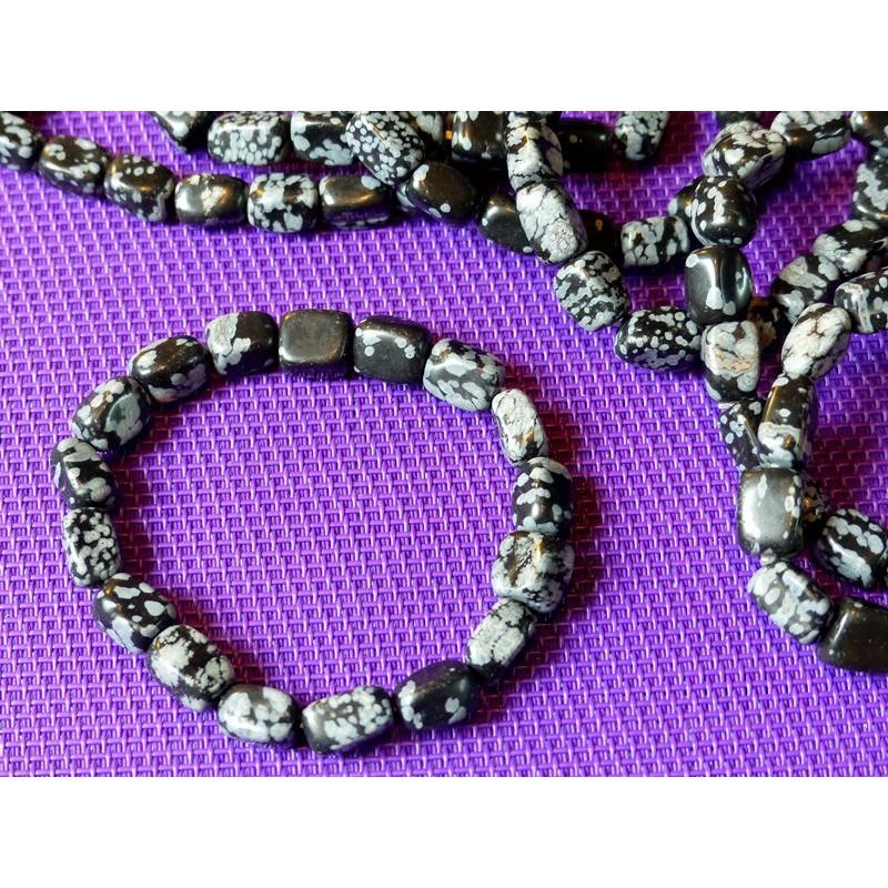 Bracelet en Obsidienne Flocon de Neige .