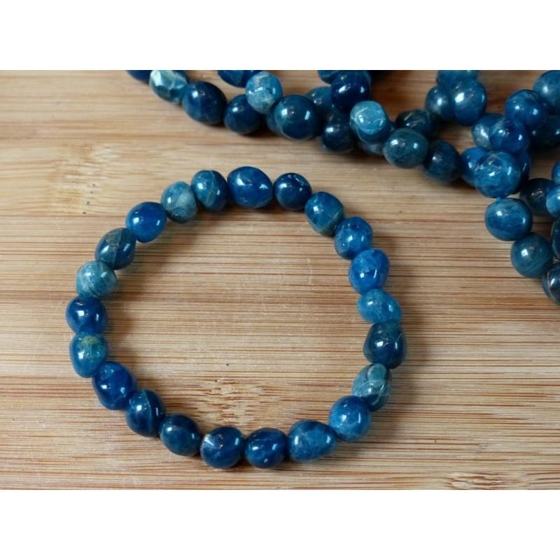 Bracelet APATITE BLEUE Q Extra en pierres roulées