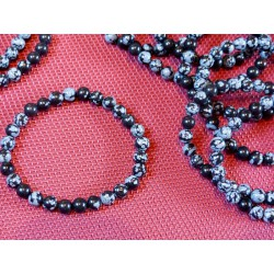 Bracelet Obsidienne Flocon de Neige perles 6mm