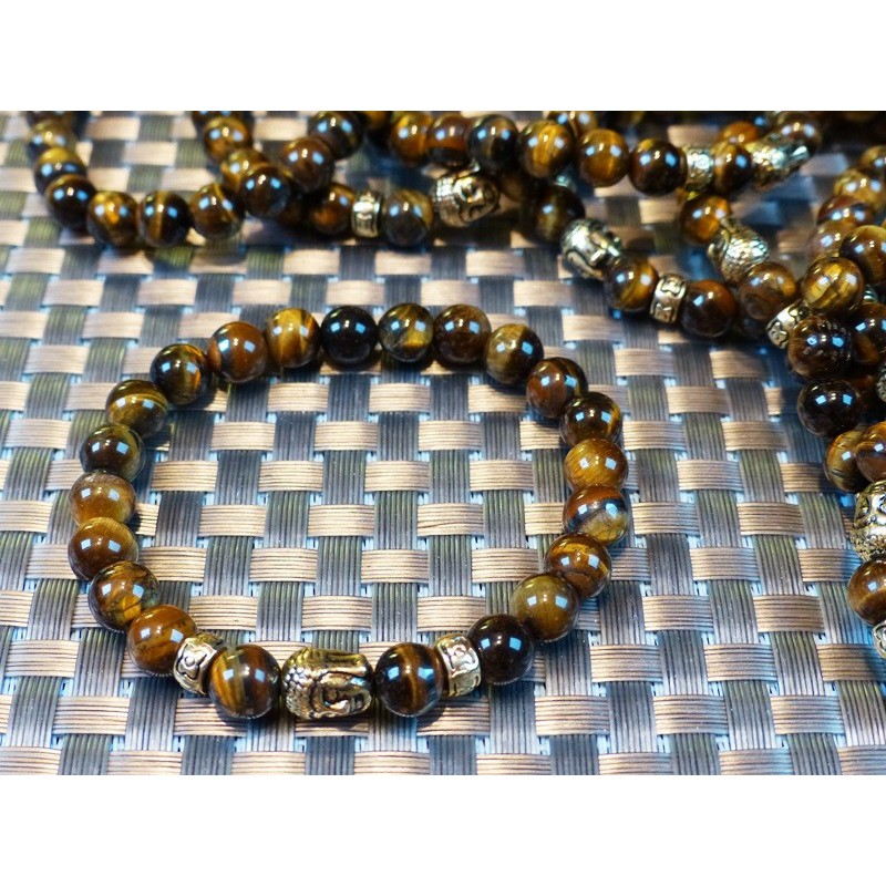 Bracelet Buddha Oeil de Tigre en perles de 8mm