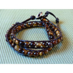 Bracelet lacet cuir OEIL DE TIGRE en perles de 6mm