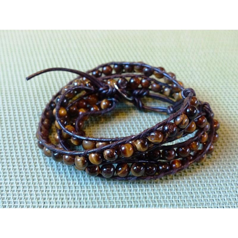 Lot de 2 Bracelets lacet cuir Oeil de Tigre en perles de 6mm