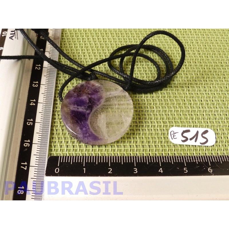 Pendentif Yin Yang Améthyste et Quartz 30mm diamètre