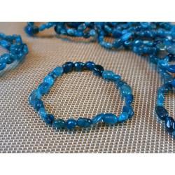 Bracelet Apatite Bleue en mini pierres roulées Q Extra