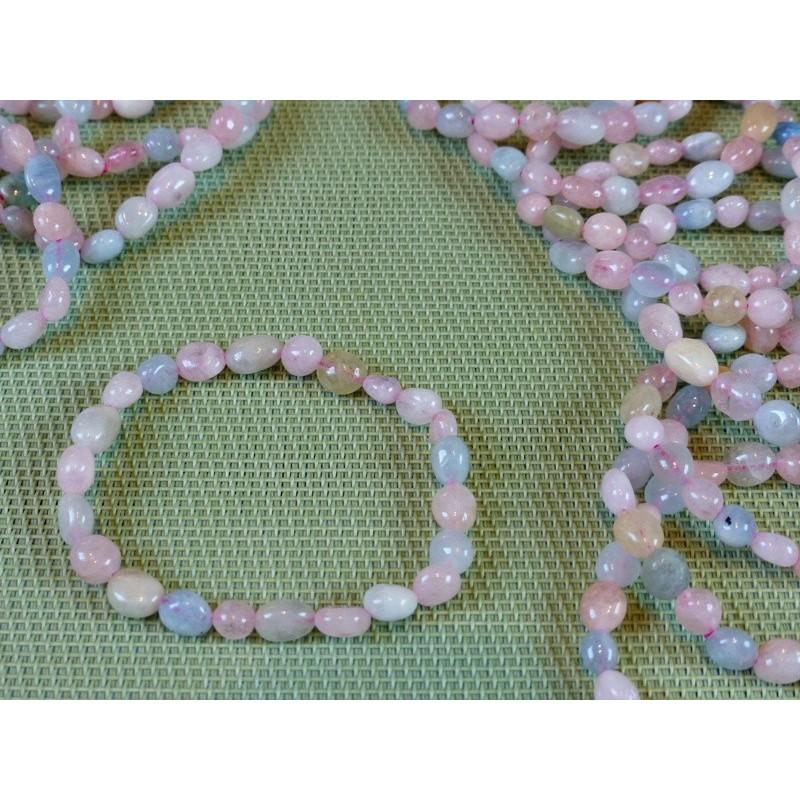 Bracelet Morganite - Aigue-marine - Heliodore en mini pierres roulées Q Extra