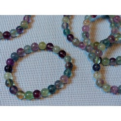 Bracelet Fluorite ou fluorine  en perles multicolores de 8mm