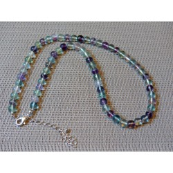 Collier Fluorite, fluorine de 42 cm en perles multicolores de 6mm