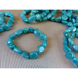 Bracelet AMAZONITE de Russie Q Extra en pierres roulées XL