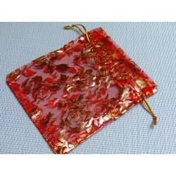 Pochette Cadeau en Organza Organdi Rouge et Or 10x12cm