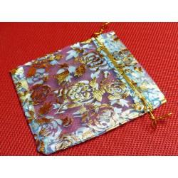 Pochette Cadeau en Organza Organdi Bleu clair et Or 10x12cm