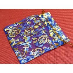 Pochette Cadeau en Organza Organdi Bleu fonce et Or 10x12cm