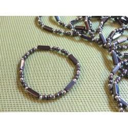 Bracelet Hématite perles et rectangles