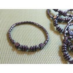 Bracelet Hématite tubes, disques, cubes et perles