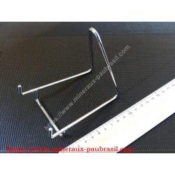 Chevalet métaliquel chromé pour supports de minéraux base 5cm