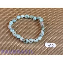 Bracelet Larimar - Pectolite bleue en pierre roulée