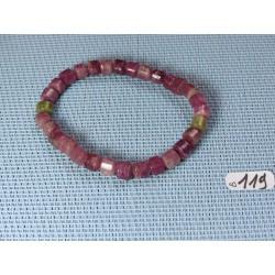 Bracelet Rubellite - Tourmaline Rose en perles cylindiques