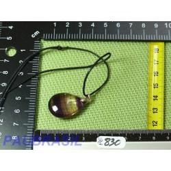 Pendentif Fluorite Multicolore Q Extra 9gr monture argent 925
