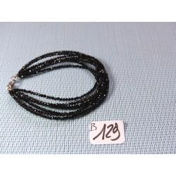 Bracelet Spinelle noir 7 rangs en perles facettées de 2mm